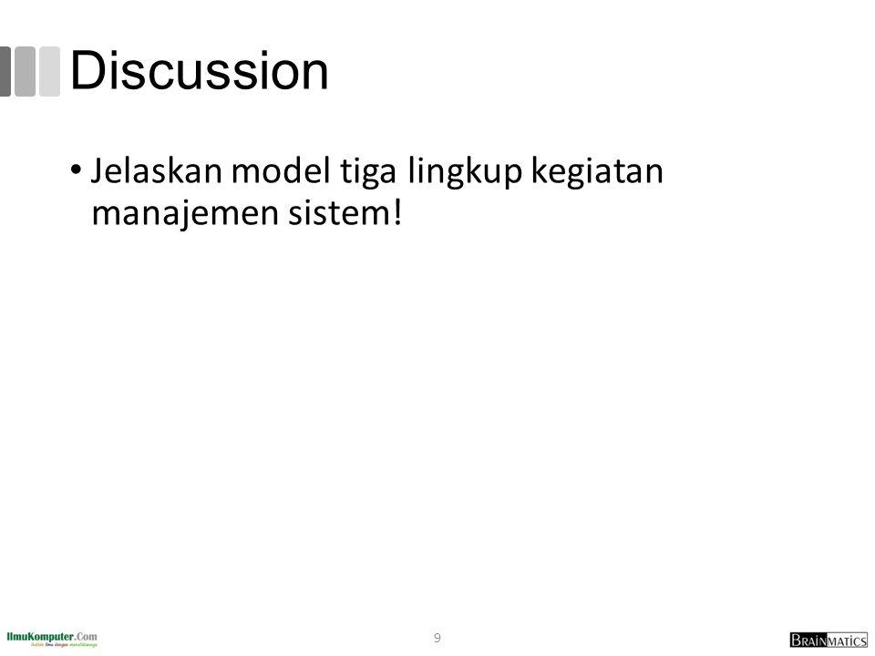 Discussion Jelaskan model tiga lingkup kegiatan manajemen sistem! 9