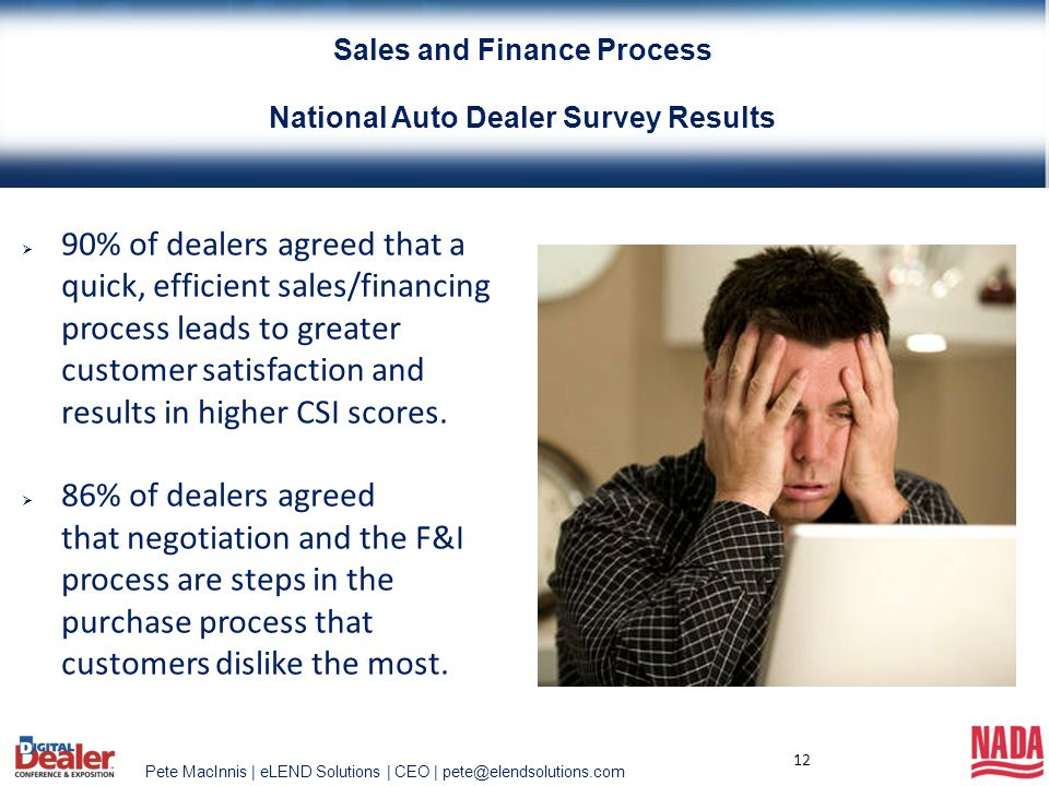 Pete MacInnis | eLEND Solutions | CEO | pete@elendsolutions.com 12  90% of dealers agreed that a quick, efficient sales/financing process leads to gr