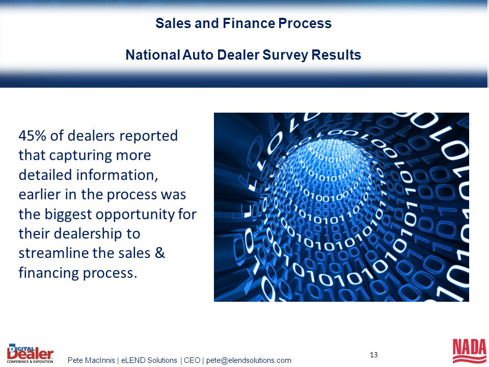 Pete MacInnis | eLEND Solutions | CEO | pete@elendsolutions.com 13 45% of dealers reported that capturing more detailed information, earlier in the pr