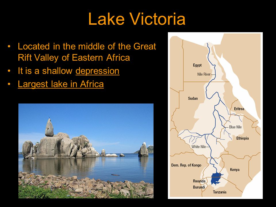 Lake Victoria Located in the middle of the Great Rift Valley of Eastern Africa It is a shallow depression Largest lake in Africa