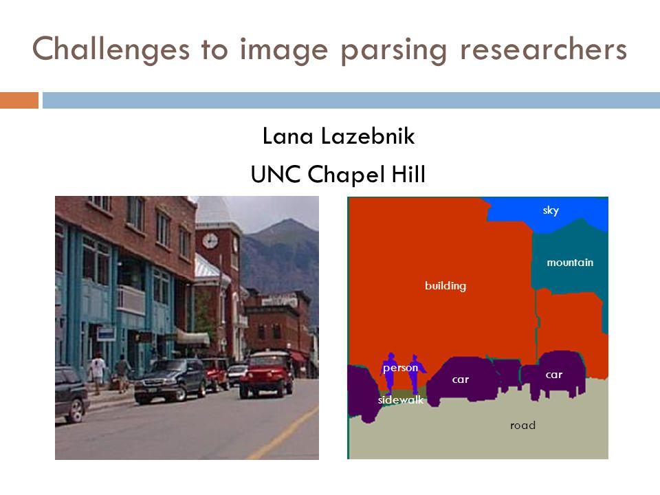 Challenges to image parsing researchers Lana Lazebnik UNC Chapel Hill sky sidewalk building road car person car mountain