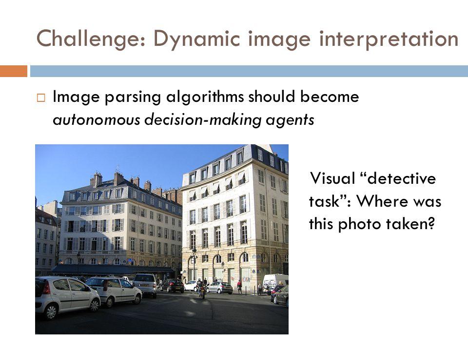 Challenge: Dynamic image interpretation  Image parsing algorithms should become autonomous decision-making agents Visual detective task : Where was this photo taken