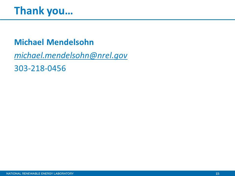 15 Thank you… Michael Mendelsohn michael.mendelsohn@nrel.gov 303-218-0456