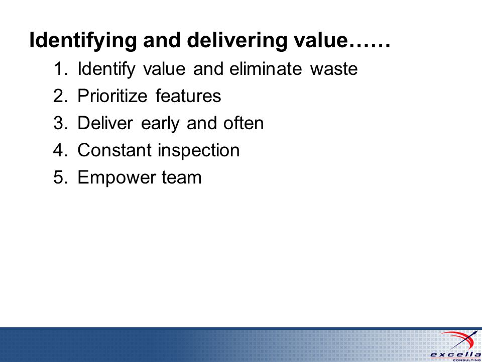 Identifying and delivering value…… 1.Identify value and eliminate waste 2.Prioritize features 3.Deliver early and often 4.Constant inspection 5.Empower team