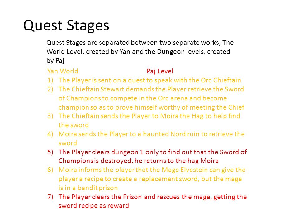 Quest Stages Quest Stages are separated between two separate works, The World Level, created by Yan and the Dungeon levels, created by Paj Yan World Paj Level 1)The Player is sent on a quest to speak with the Orc Chieftain 2)The Chieftain Stewart demands the Player retrieve the Sword of Champions to compete in the Orc arena and become champion so as to prove himself worthy of meeting the Chief 3)The Chieftain sends the Player to Moira the Hag to help find the sword 4)Moira sends the Player to a haunted Nord ruin to retrieve the sword 5)The Player clears dungeon 1 only to find out that the Sword of Champions is destroyed, he returns to the hag Moira 6)Moira informs the player that the Mage Elvestein can give the player a recipe to create a replacement sword, but the mage is in a bandit prison 7)The Player clears the Prison and rescues the mage, getting the sword recipe as reward