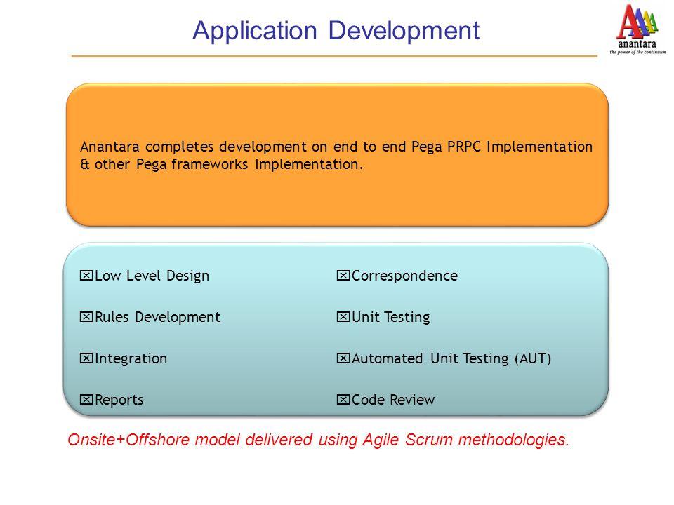 Application Development  Low Level Design  Rules Development  Integration  Reports  Correspondence  Unit Testing  Automated Unit Testing (AUT)