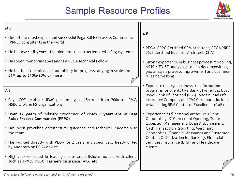 Sample Resource Profiles 25 © Anantara Solutions Private Limited 2011. All rights reserved M C One of the most expert and successful Pega RULES Proces