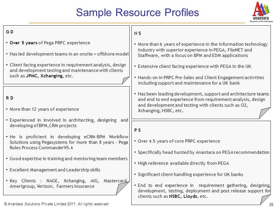 Sample Resource Profiles 26 © Anantara Solutions Private Limited 2011. All rights reserved G D Over 5 years of Pega PRPC experience Has led developmen