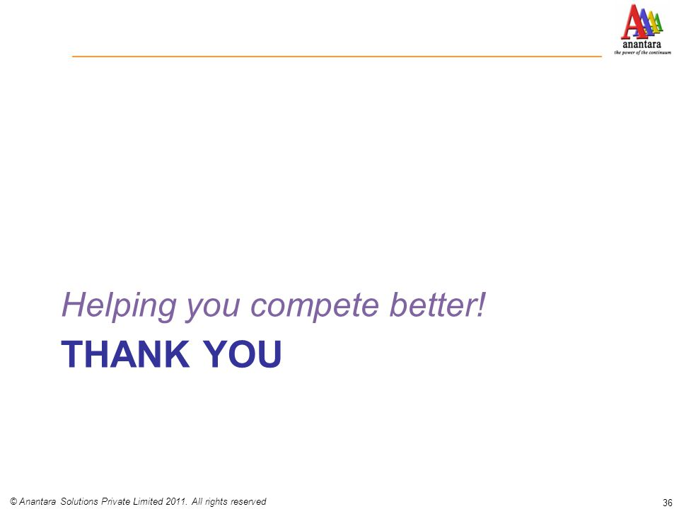 THANK YOU Helping you compete better! 36 © Anantara Solutions Private Limited 2011. All rights reserved