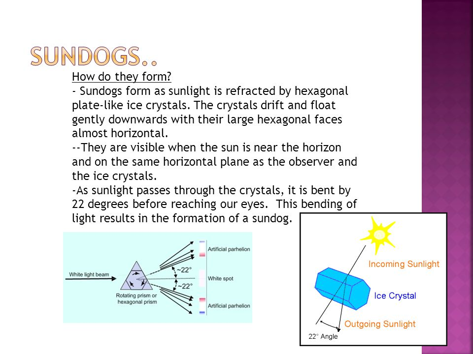 How do they form. - Sundogs form as sunlight is refracted by hexagonal plate-like ice crystals.
