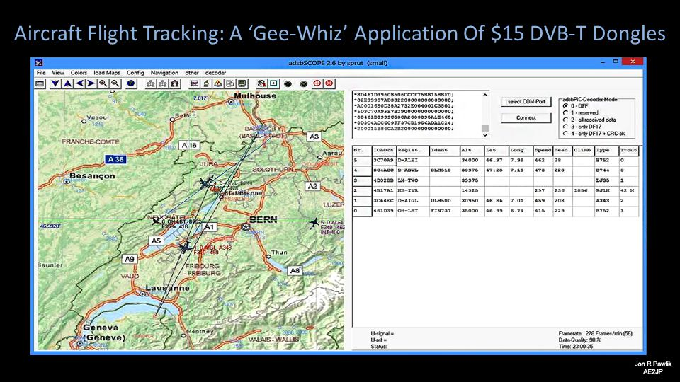 Aircraft Flight Tracking: A 'Gee-Whiz' Application Of $15 DVB-T Dongles