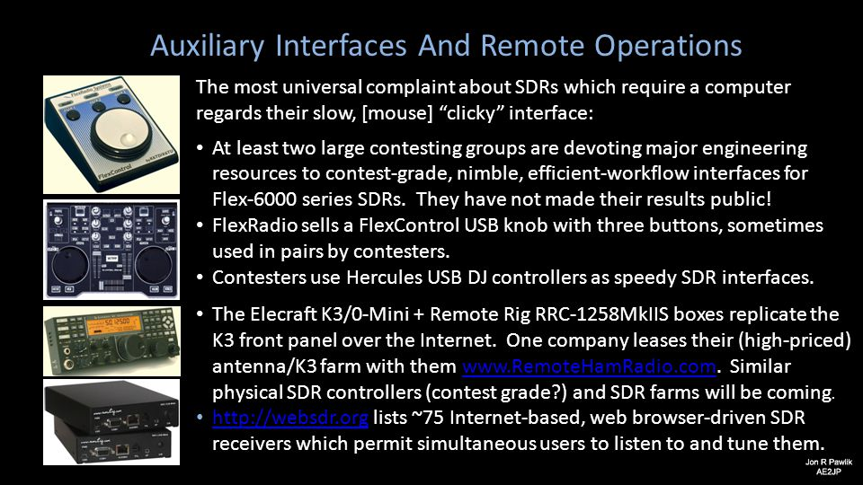 "Auxiliary Interfaces And Remote Operations The most universal complaint about SDRs which require a computer regards their slow, [mouse] ""clicky"" inter"