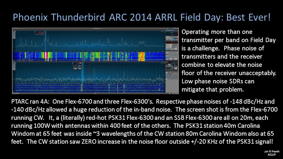 Phoenix Thunderbird ARC 2014 ARRL Field Day: Best Ever! Operating more than one transmitter per band on Field Day is a challenge. Phase noise of trans