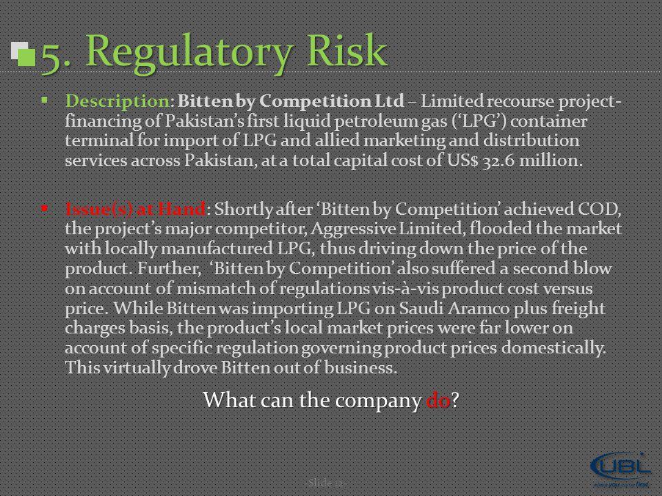 5. Regulatory Risk -Slide 12-  Description: Bitten by Competition Ltd – Limited recourse project- financing of Pakistan's first liquid petroleum gas