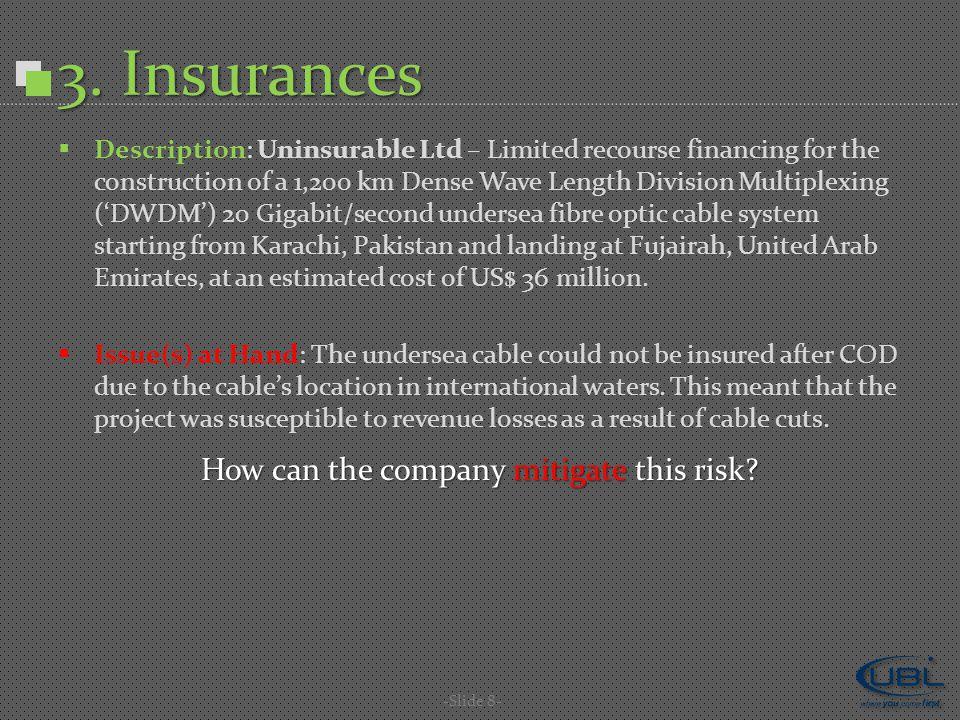 3. Insurances -Slide 8-  Description: Uninsurable Ltd – Limited recourse financing for the construction of a 1,200 km Dense Wave Length Division Mult