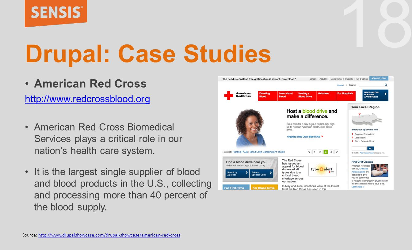 18 Drupal: Case Studies American Red Cross http://www.redcrossblood.org American Red Cross Biomedical Services plays a critical role in our nation's health care system.