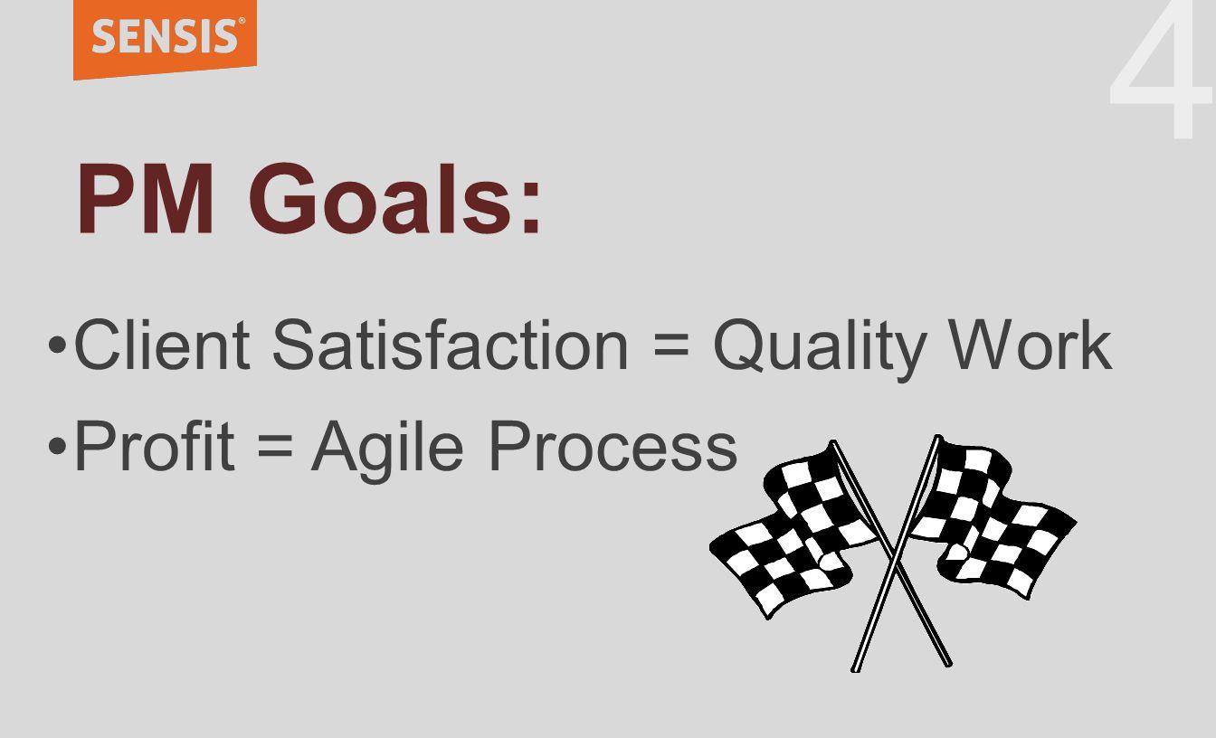 44 PM Goals: Client Satisfaction = Quality Work Profit = Agile Process
