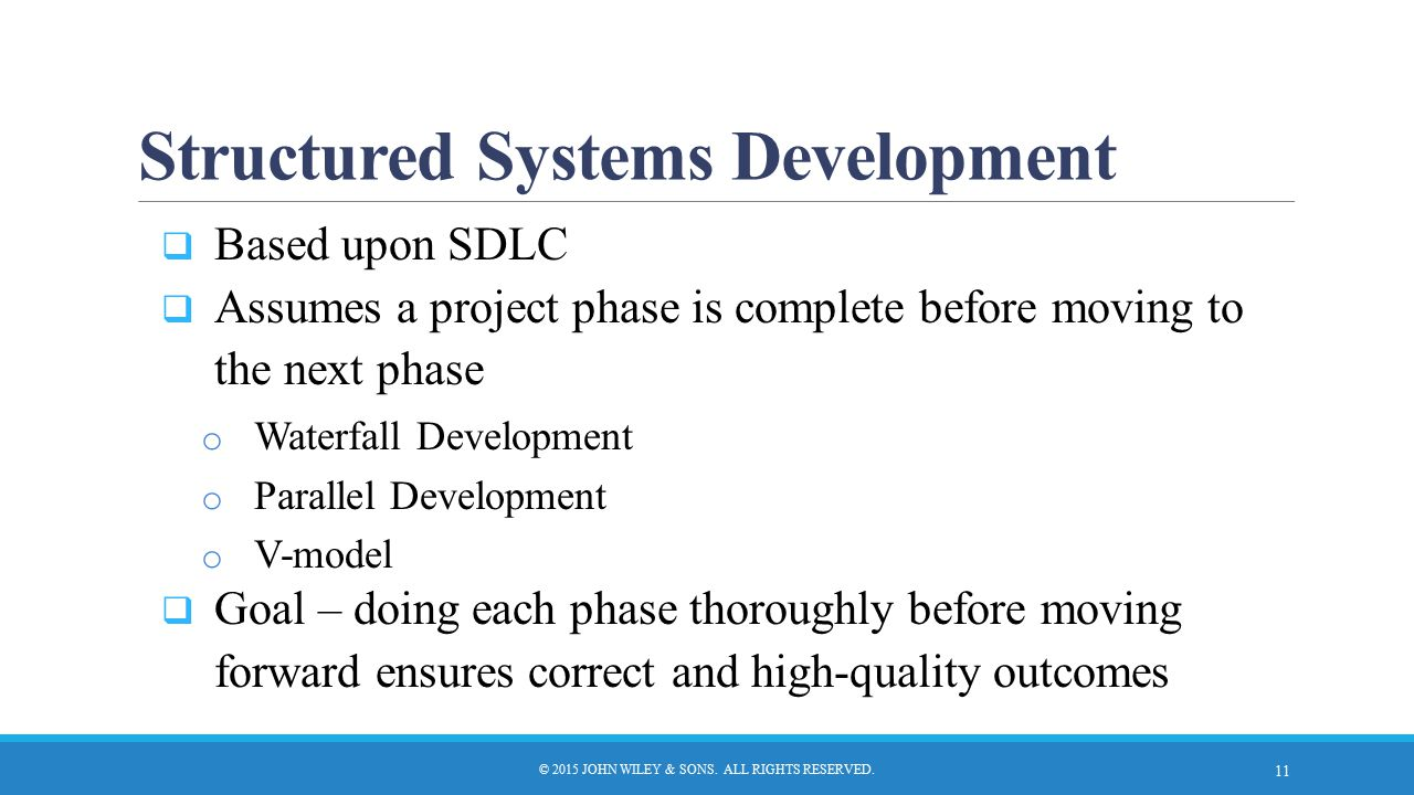 Structured Systems Development © 2015 JOHN WILEY & SONS. ALL RIGHTS RESERVED.  Based upon SDLC  Assumes a project phase is complete before moving to