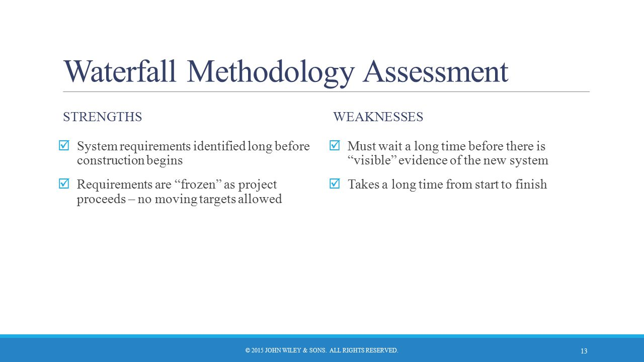 """Waterfall Methodology Assessment STRENGTHS  System requirements identified long before construction begins  Requirements are """"frozen"""" as project pro"""
