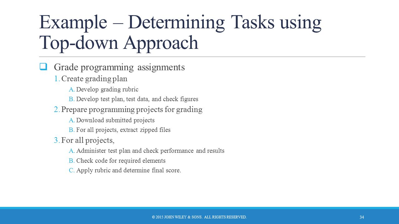 Example – Determining Tasks using Top-down Approach  Grade programming assignments 1.Create grading plan A.Develop grading rubric B.Develop test plan