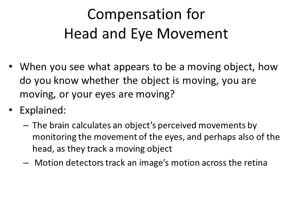 Compensation for Head and Eye Movement When you see what appears to be a moving object, how do you know whether the object is moving, you are moving, or your eyes are moving.
