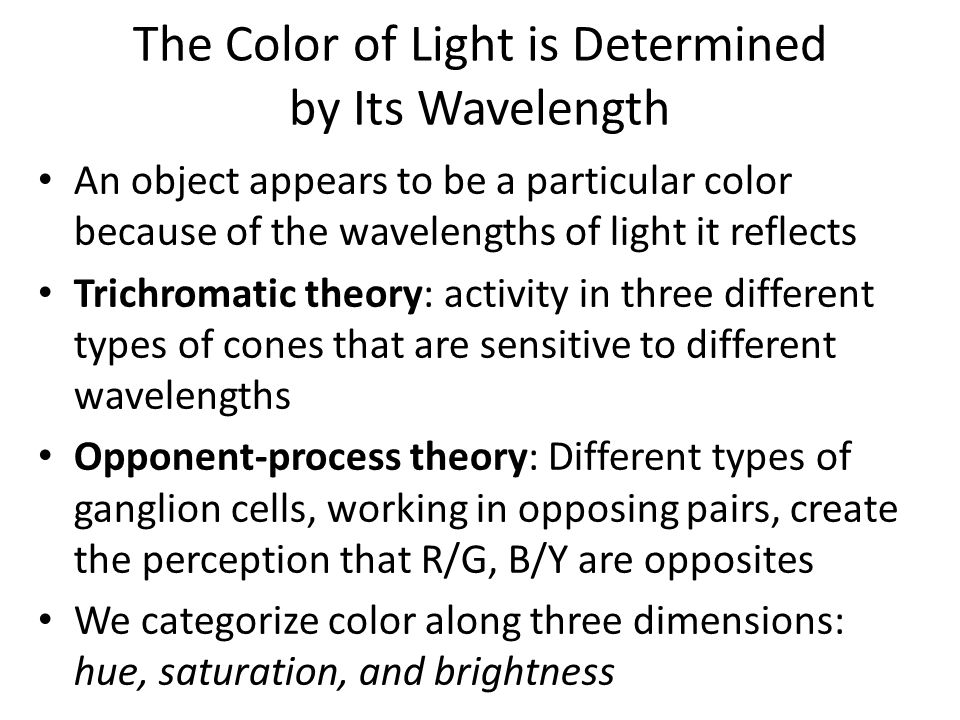 The Color of Light is Determined by Its Wavelength An object appears to be a particular color because of the wavelengths of light it reflects Trichromatic theory: activity in three different types of cones that are sensitive to different wavelengths Opponent-process theory: Different types of ganglion cells, working in opposing pairs, create the perception that R/G, B/Y are opposites We categorize color along three dimensions: hue, saturation, and brightness
