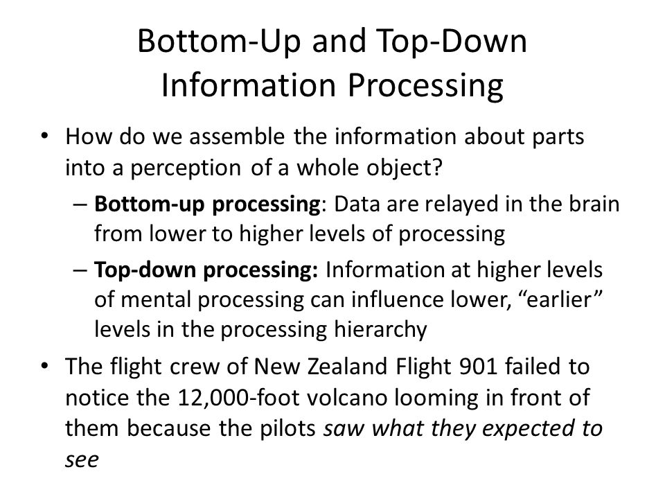 Bottom-Up and Top-Down Information Processing How do we assemble the information about parts into a perception of a whole object.
