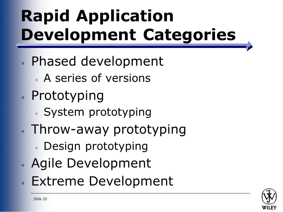 Slide 20 Rapid Application Development Categories Phased development A series of versions Prototyping System prototyping Throw-away prototyping Design prototyping Agile Development Extreme Development