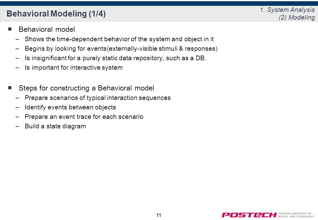 11 Behavioral Modeling (1/4) ■Behavioral model –Shows the time-dependent behavior of the system and object in it –Begins by looking for events(externally-visible stimuli & responses) –Is insignificant for a purely static data repository, such as a DB.