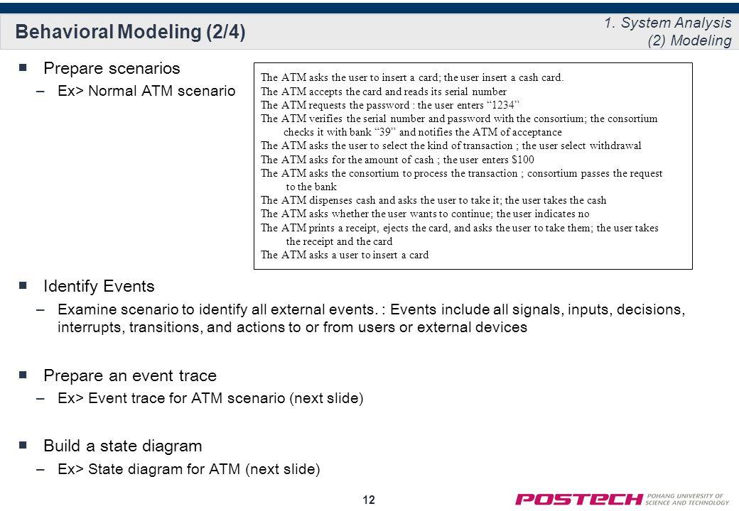 12 Behavioral Modeling (2/4) ■Prepare scenarios –Ex> Normal ATM scenario ■Identify Events –Examine scenario to identify all external events.