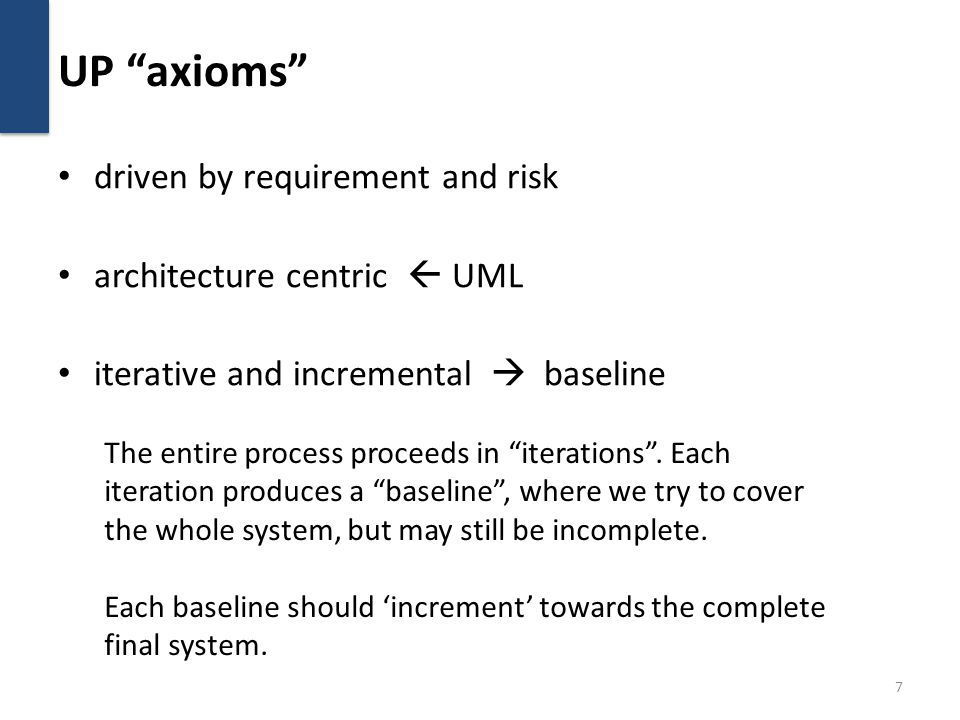 UP axioms driven by requirement and risk architecture centric  UML iterative and incremental  baseline 7 The entire process proceeds in iterations .