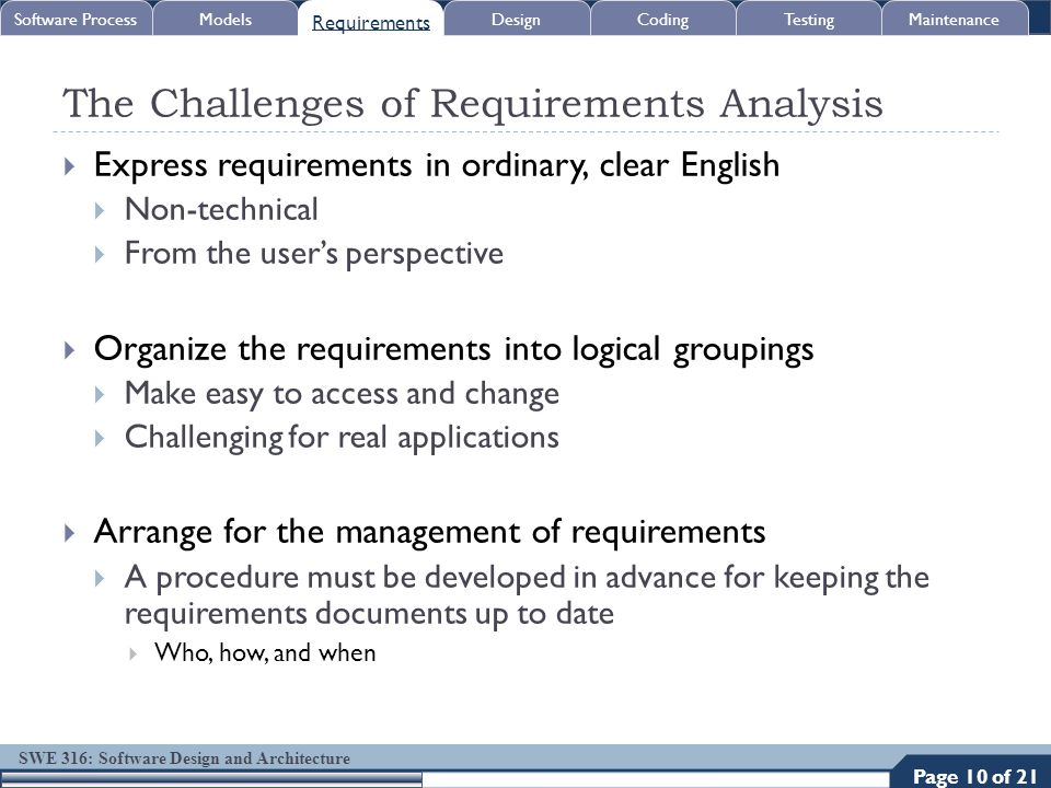SWE 316: Software Design and Architecture The Challenges of Requirements Analysis  Express requirements in ordinary, clear English  Non-technical 