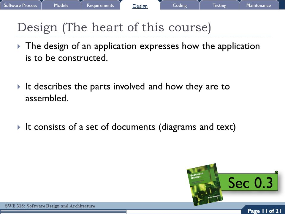 SWE 316: Software Design and Architecture Design (The heart of this course)  The design of an application expresses how the application is to be cons
