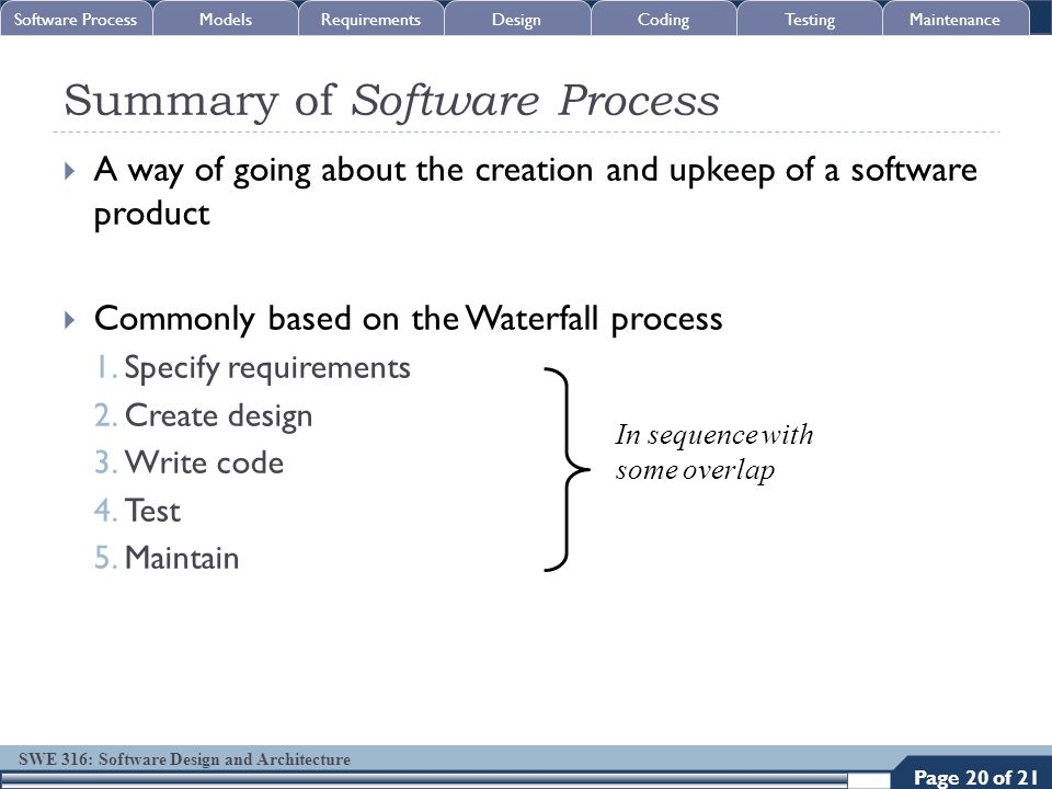SWE 316: Software Design and Architecture Summary of Software Process  A way of going about the creation and upkeep of a software product  Commonly
