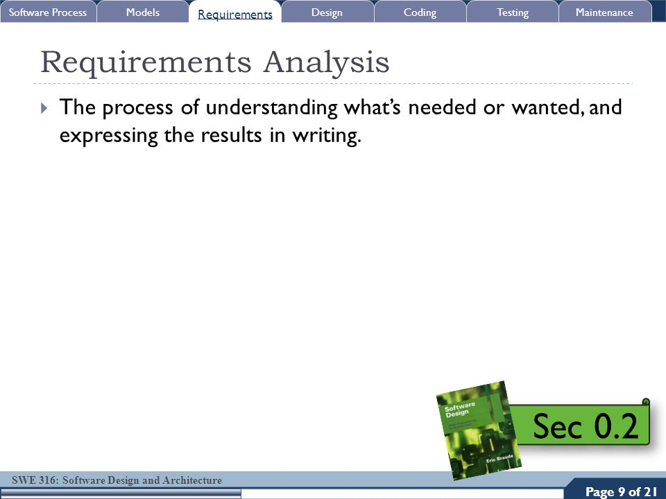 SWE 316: Software Design and Architecture Requirements Analysis  The process of understanding what's needed or wanted, and expressing the results in