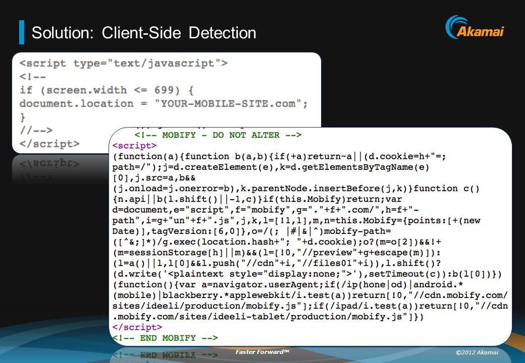 ©2012 Akamai Faster Forward TM Solution: Client-Side Detection