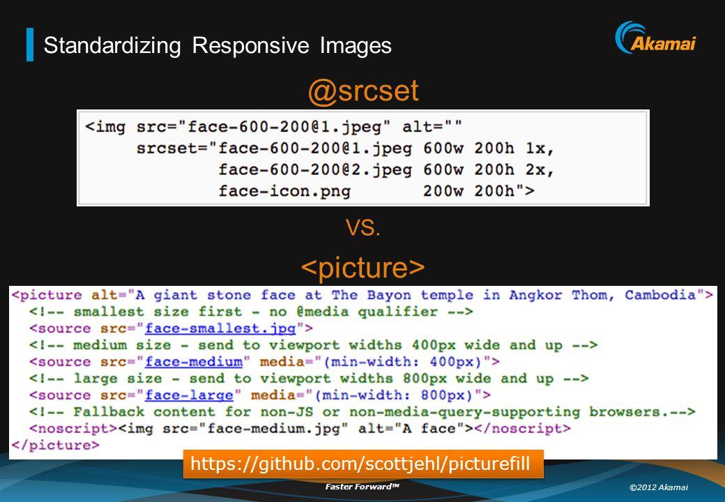 ©2012 Akamai Faster Forward TM Standardizing Responsive Images @srcset VS. https://github.com/scottjehl/picturefill