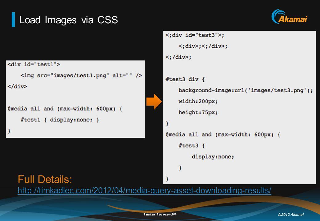 ©2012 Akamai Faster Forward TM Load Images via CSS Full Details: http://timkadlec.com/2012/04/media-query-asset-downloading-results/ http://timkadlec.com/2012/04/media-query-asset-downloading-results/