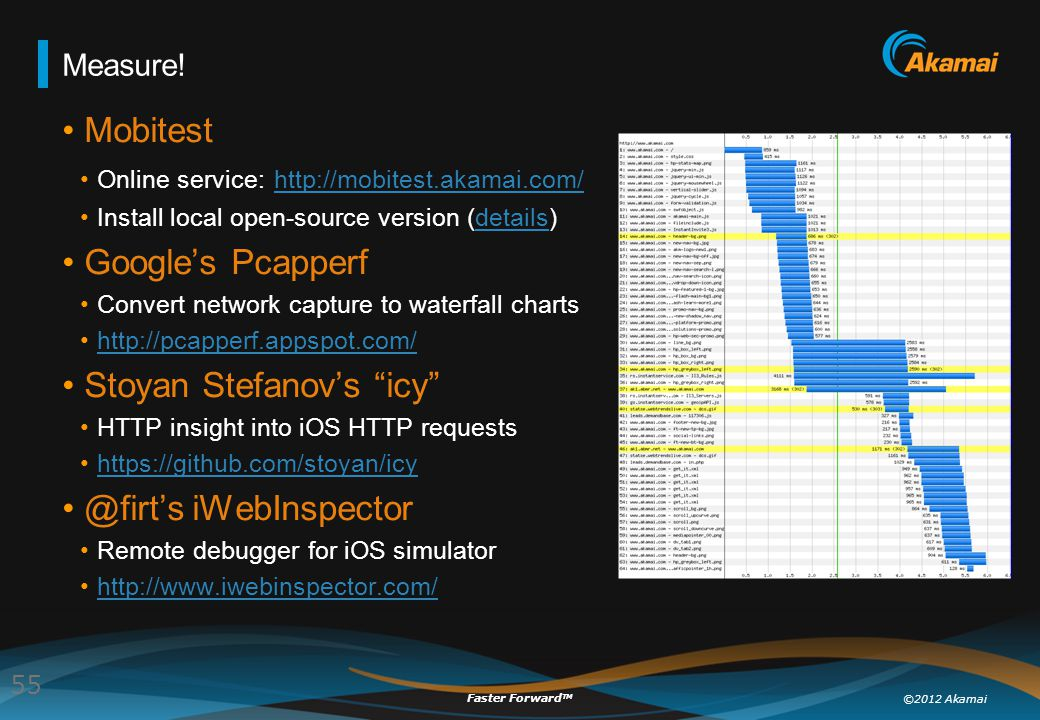 ©2012 Akamai Faster Forward TM Measure! Mobitest Online service: http://mobitest.akamai.com/ http://mobitest.akamai.com/ Install local open-source ver