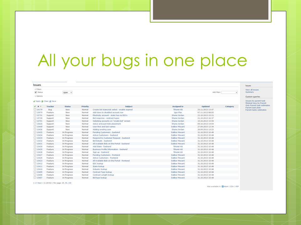 All your bugs in one place