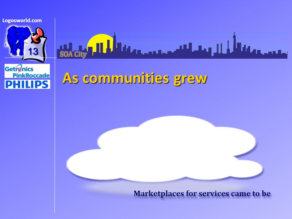 Logosworld.com As communities grew 13 Marketplaces for services came to be
