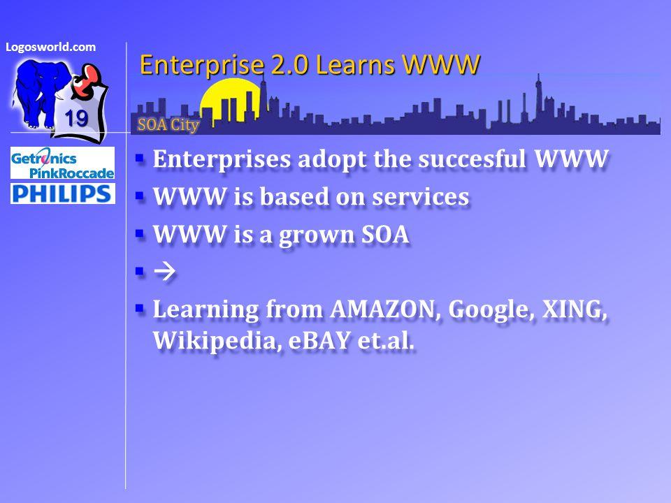 Logosworld.com Enterprise 2.0 Learns WWW  Enterprises adopt the succesful WWW  WWW is based on services  WWW is a grown SOA   Learning from AMAZON, Google, XING, Wikipedia, eBAY et.al.