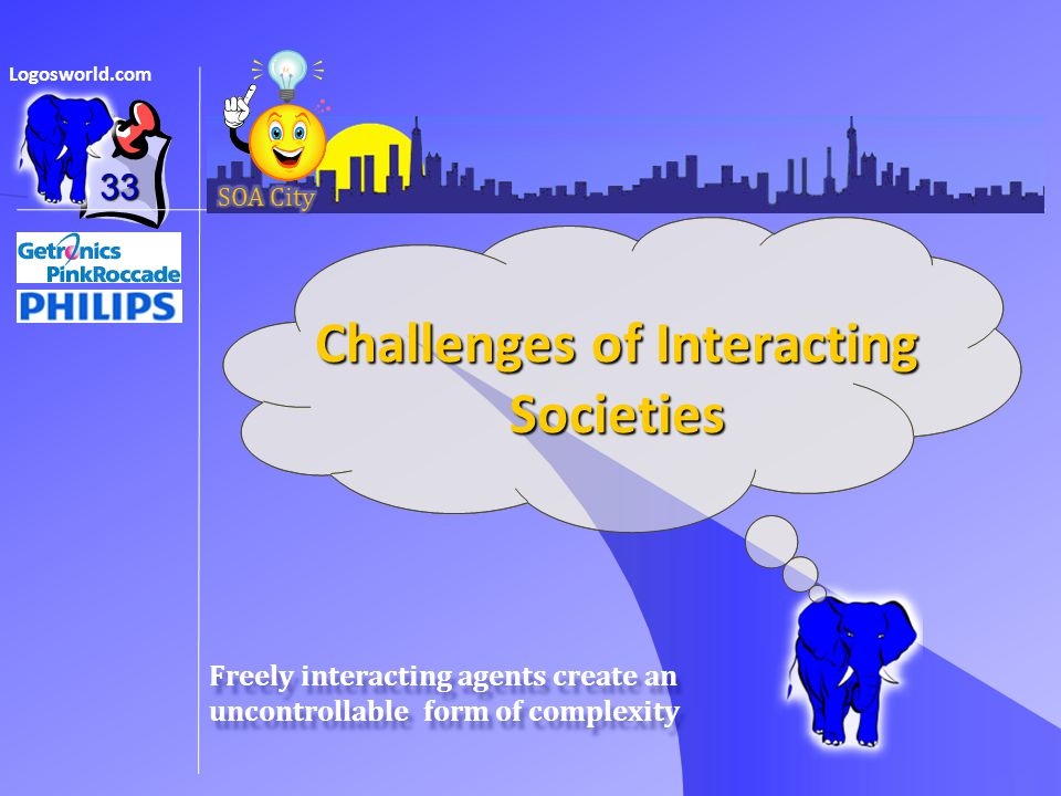 Logosworld.com Freely interacting agents create an uncontrollable form of complexity Challenges of Interacting Societies 33