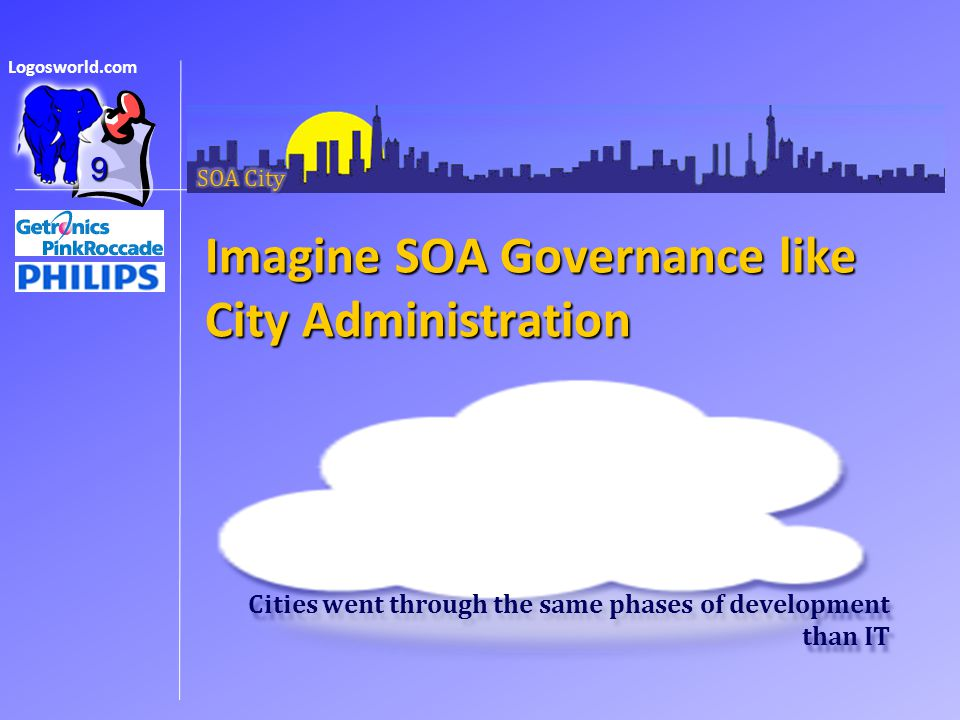 Logosworld.com Imagine SOA Governance like City Administration 9 Cities went through the same phases of development than IT
