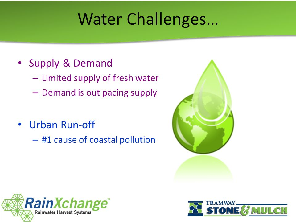Water Challenges… Supply & Demand – Limited supply of fresh water – Demand is out pacing supply Urban Run-off – #1 cause of coastal pollution