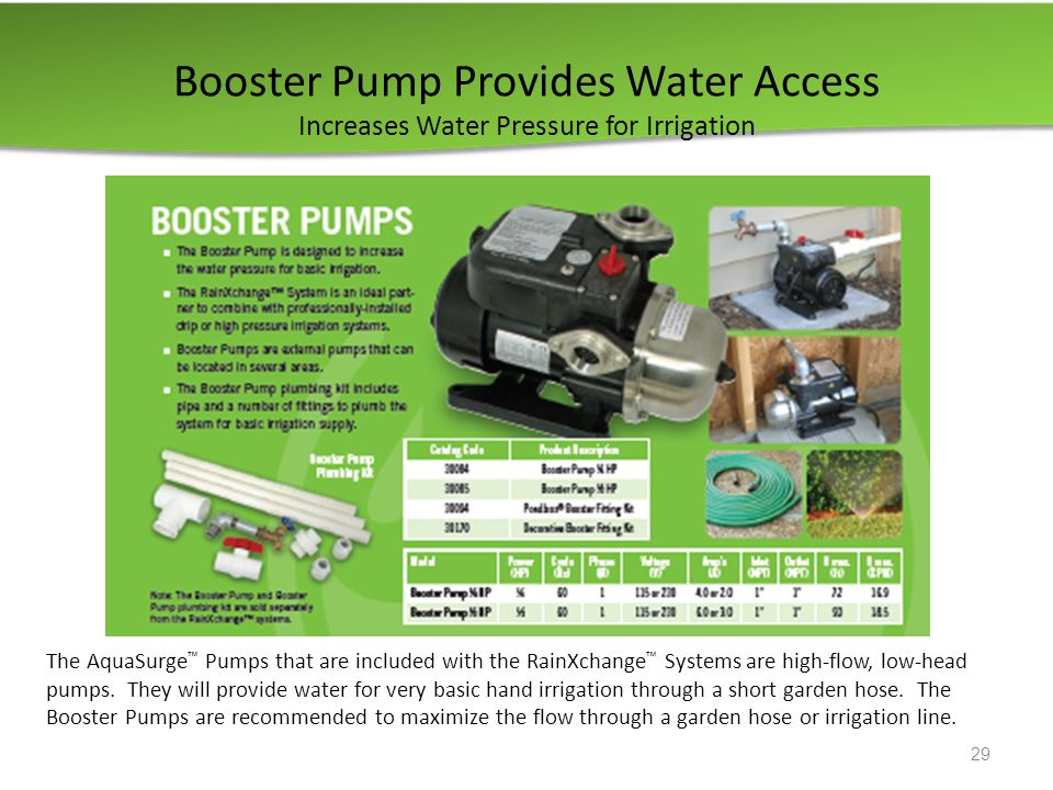Booster Pump Provides Water Access Increases Water Pressure for Irrigation 29 The AquaSurge ™ Pumps that are included with the RainXchange ™ Systems are high-flow, low-head pumps.