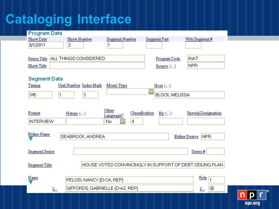 Cataloging Interface