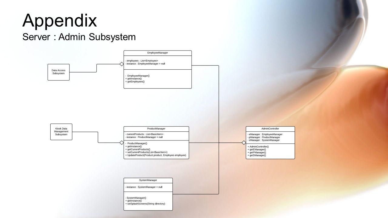 Appendix Server : Admin Subsystem