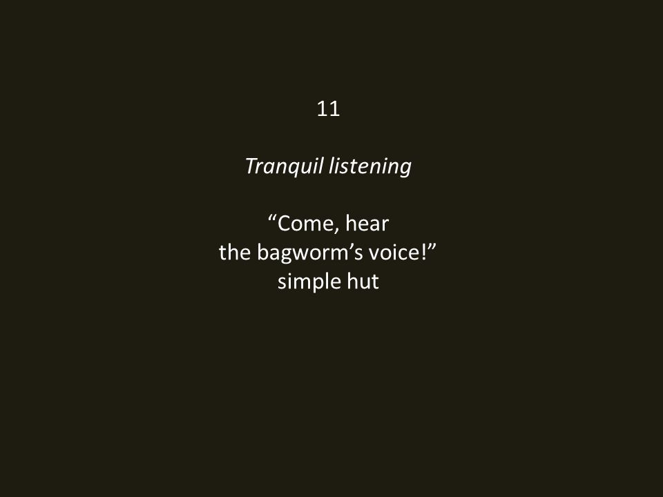 11 Tranquil listening Come, hear the bagworm's voice! simple hut