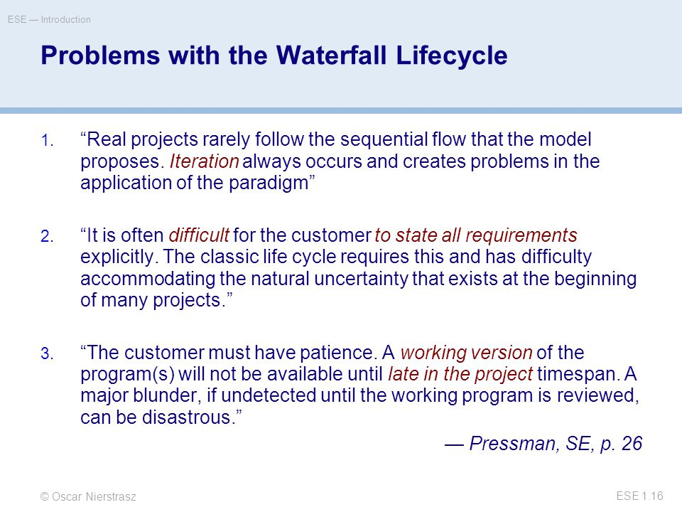 © Oscar Nierstrasz ESE — Introduction ESE 1.16 Problems with the Waterfall Lifecycle 1.